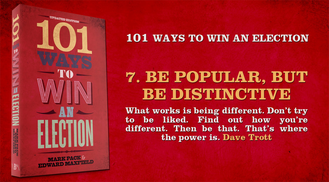 Be popular, but be distinctive - one of the 101 ways to win an election