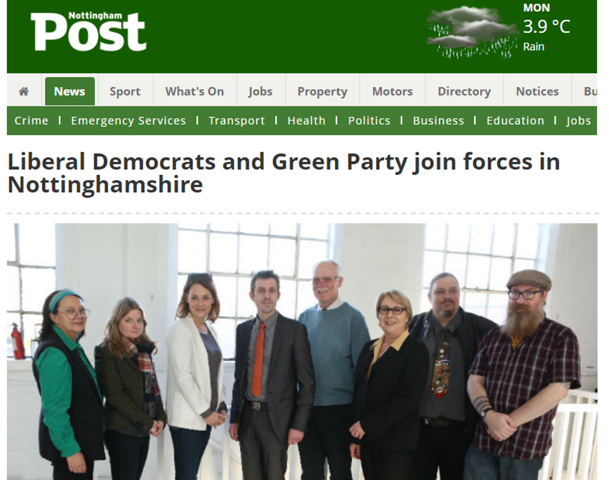 Nottingham Post newspaper story about local election pact