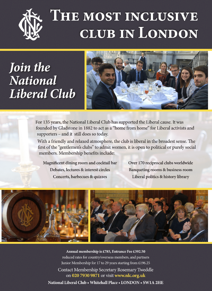 National Liberal Club advert