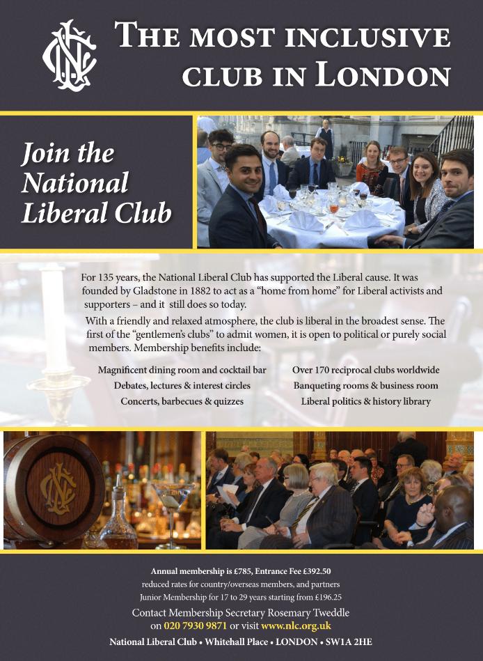 National Liberal Club advert