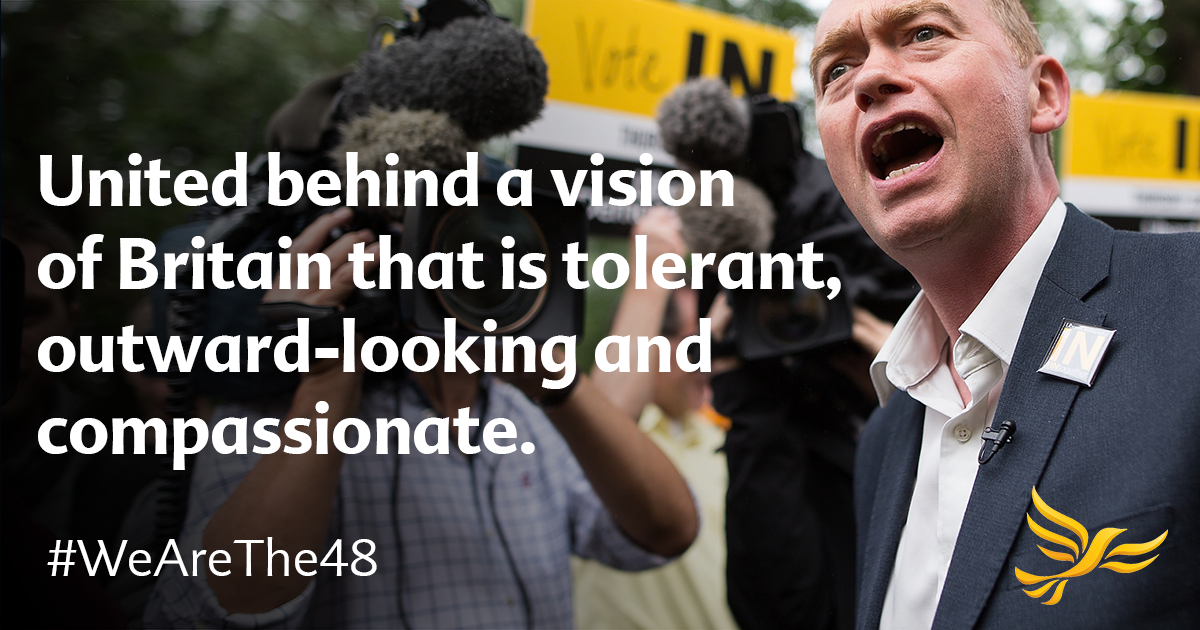 Tim Farron campaigning for a tolerant Britain
