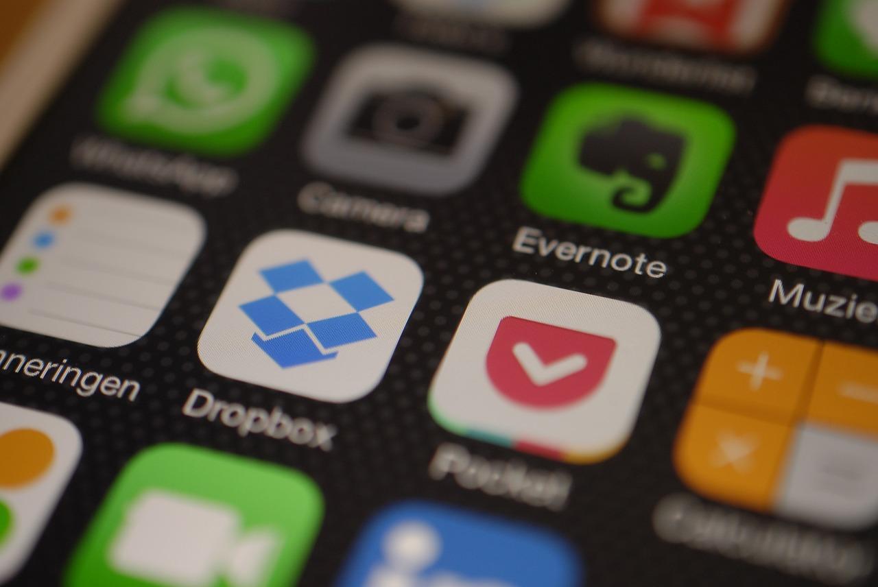 iPhone icons including Dropbox - CC0 Public Domain