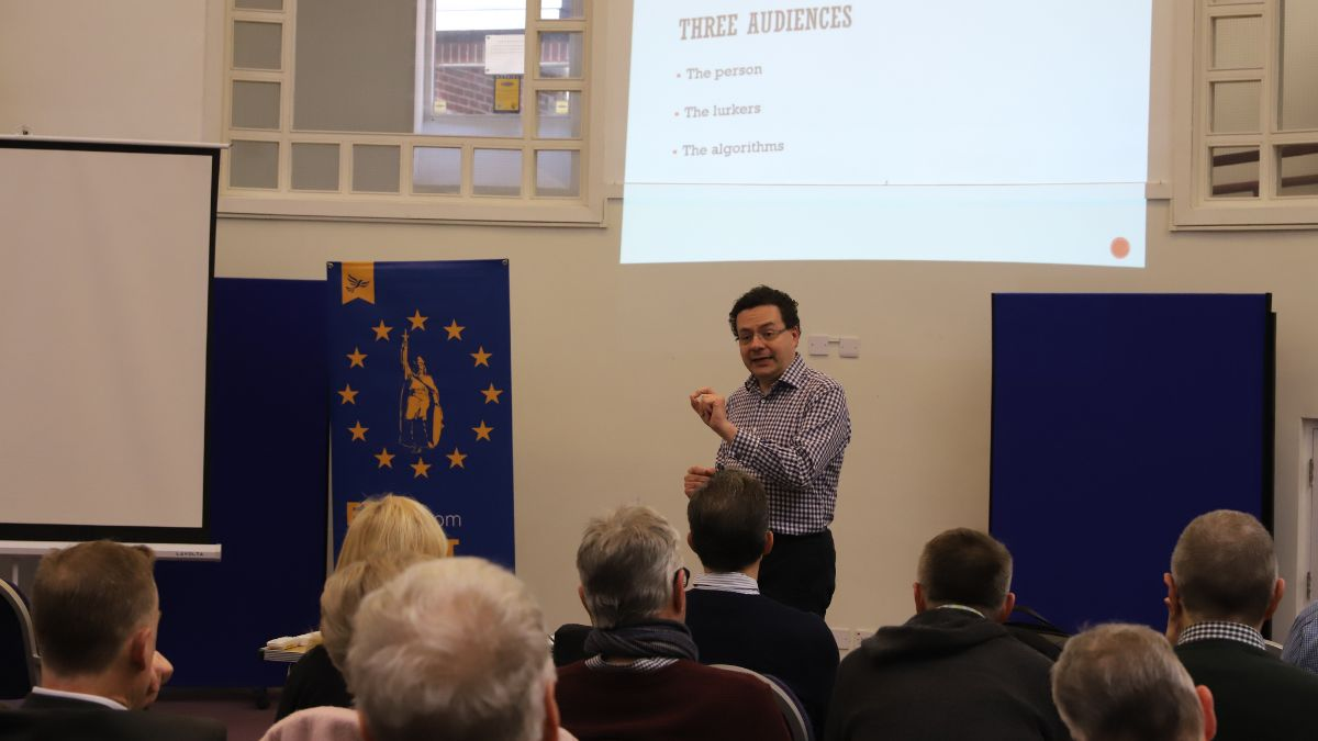 Mark Pack speaking at an anti-Brexit training session Winchester - photo copyright Richard Murphy and used with permission