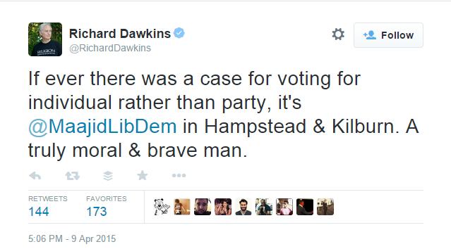 Richard Dawkins backs Maajid Nawaz