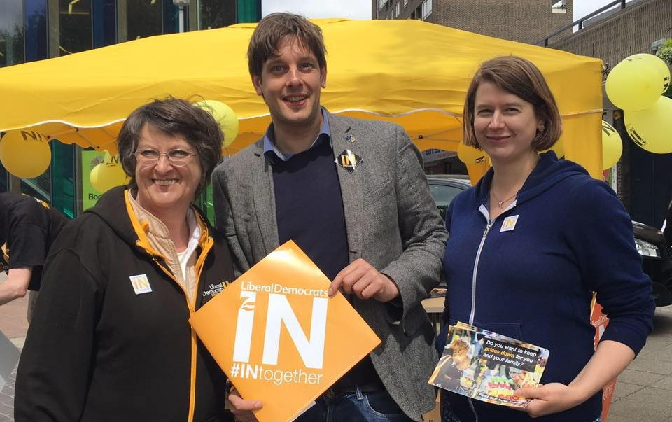 Ben Sims campaigning with Elaine Bagshaw and Catherine Bearder