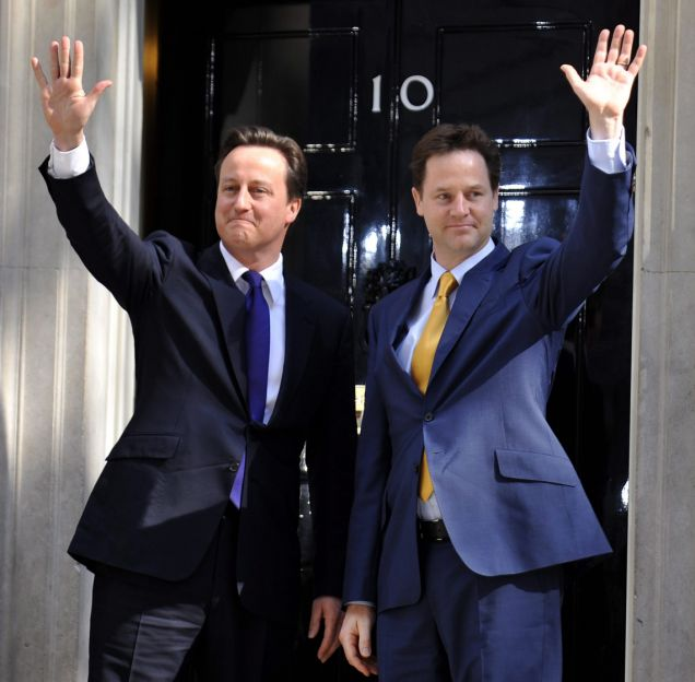 David Cameron and Nick Clegg in Downing Street