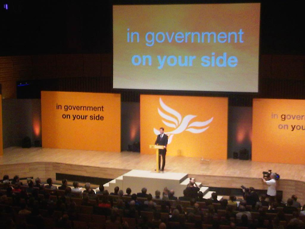 Nick Clegg speaking at Gateshead