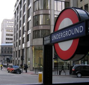 London: a tube station and a black cab
