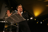 Nick Clegg speaking at a Liberal Democrat conference