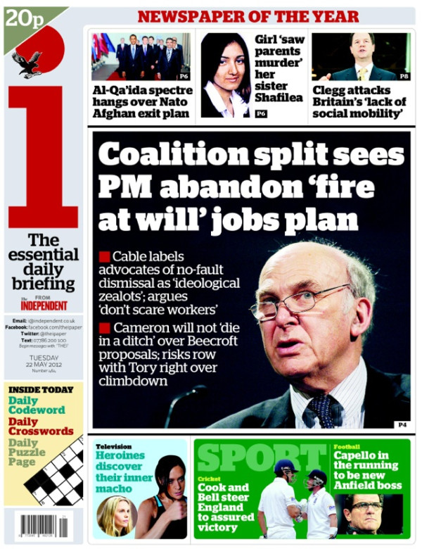 The Independent hails Vince Cable's victory on job laws