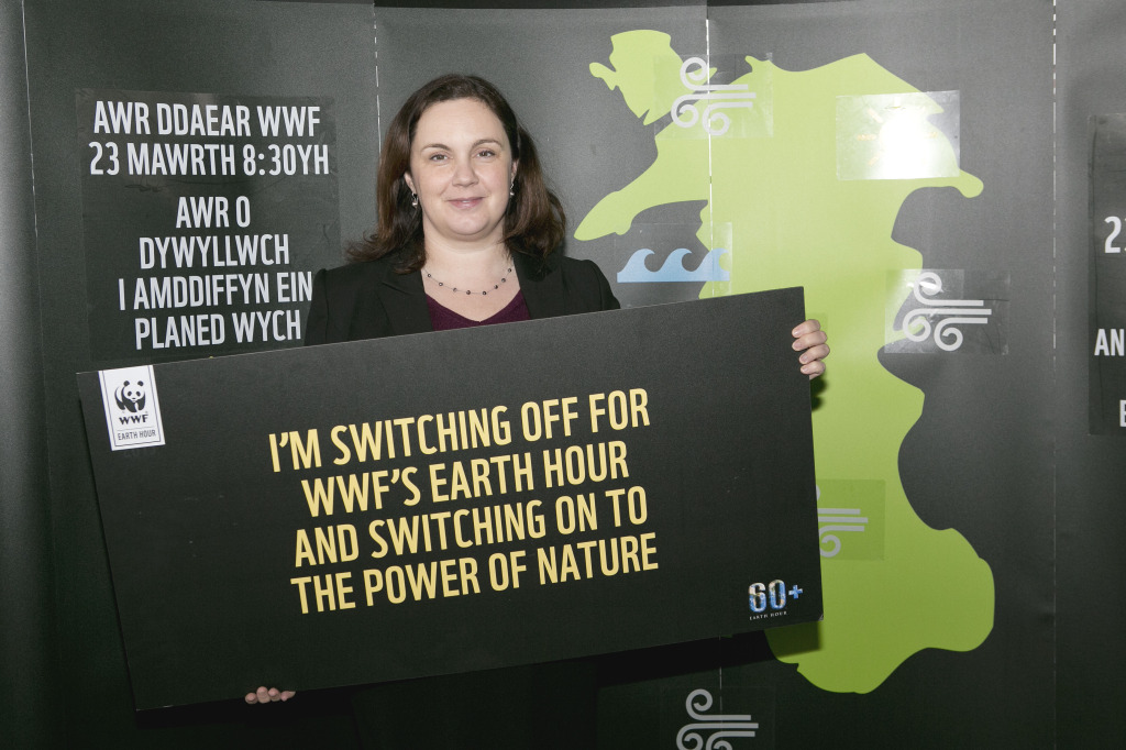 Eluned Parrott campaigning for the environment