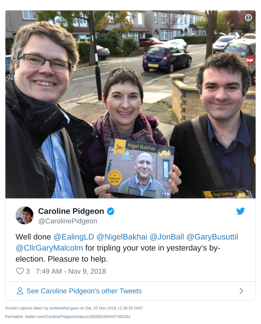 Caroline Pidgeon tweet about Lib Dem vote share going up in Ealing by-election