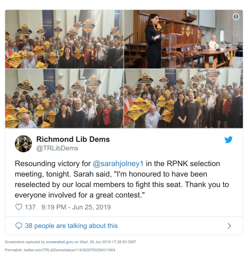 Sarah Olney being re-selected in Richmond Park
