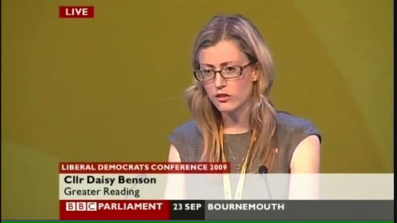 Daisy Benson speaking at the 2009 Lib Dem autumn conference