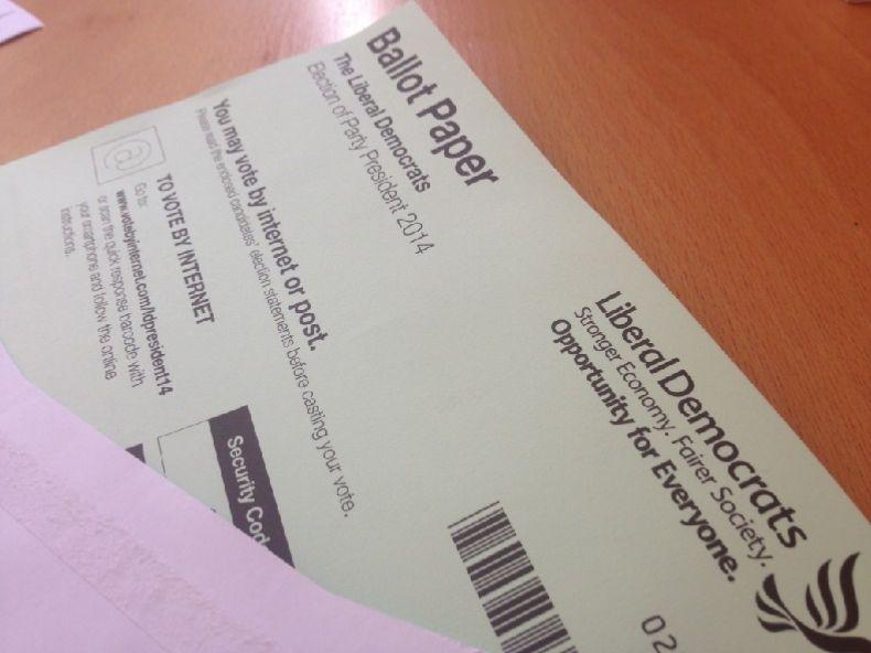 Lib Dem President election ballot paper