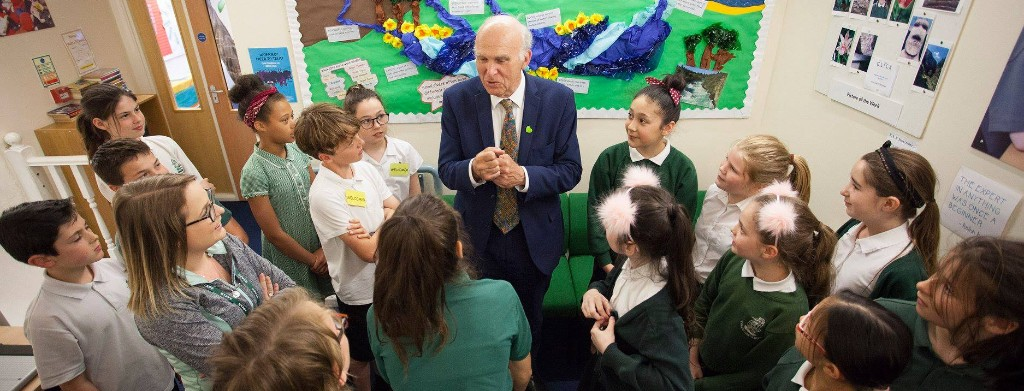 Vince Cable meeting schoolchildren
