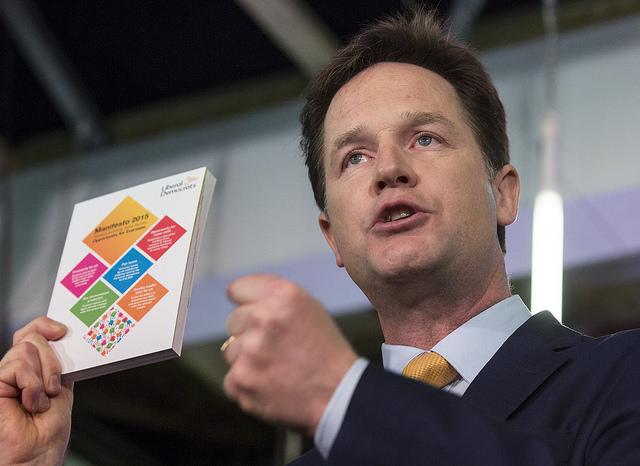 Nick Clegg launching Lib Dem manifesto. Photo courtesy of the Lib Dems (CC BY-ND 2.0)