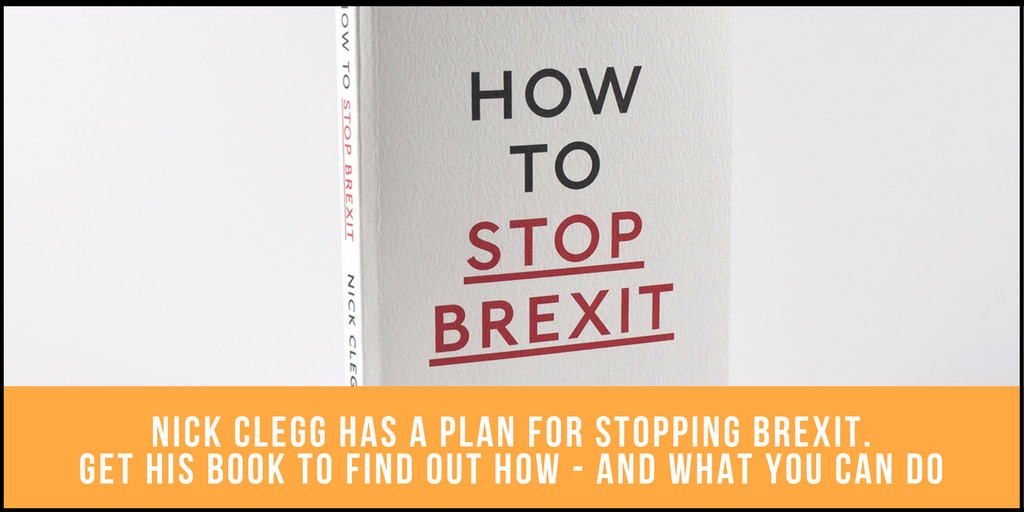 "Advert for Nick Clegg's book, ""How to stop Brexit"""