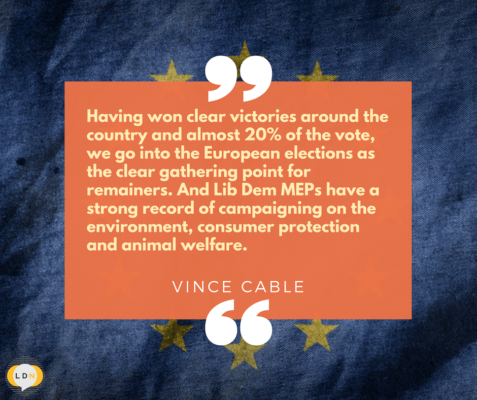 Vince Cable on the local elections - Lib Dems are now the clear choice for Remainers in the Euros