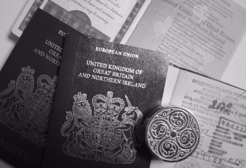 Black and white photo of British passports