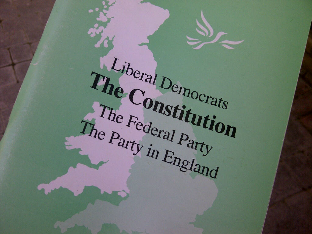 Cover of a printed edition of the Liberal Democrat constitution