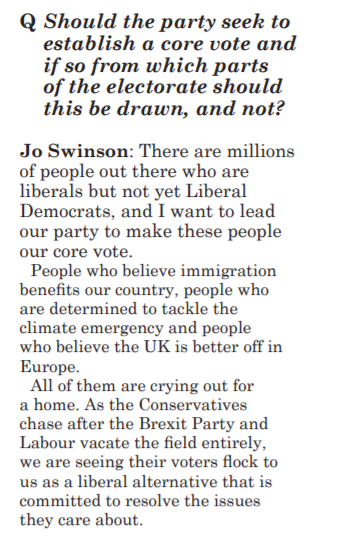 Jo Swinson in Liberator magazine on a core votes approach
