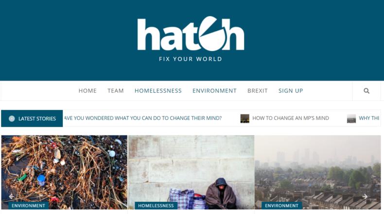 Hatch website frontpage