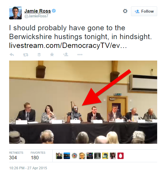 Roman fancy dress at a Berwickshire hustings meeting