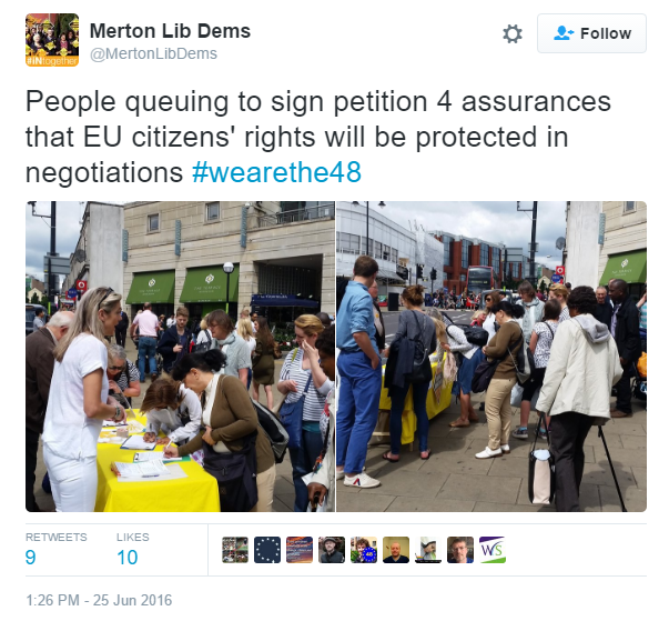 Merton Lib Dems campaigning in the aftermath of the referendum