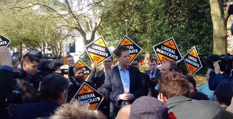 Nick Clegg campaigning with Ed Davey, 2015