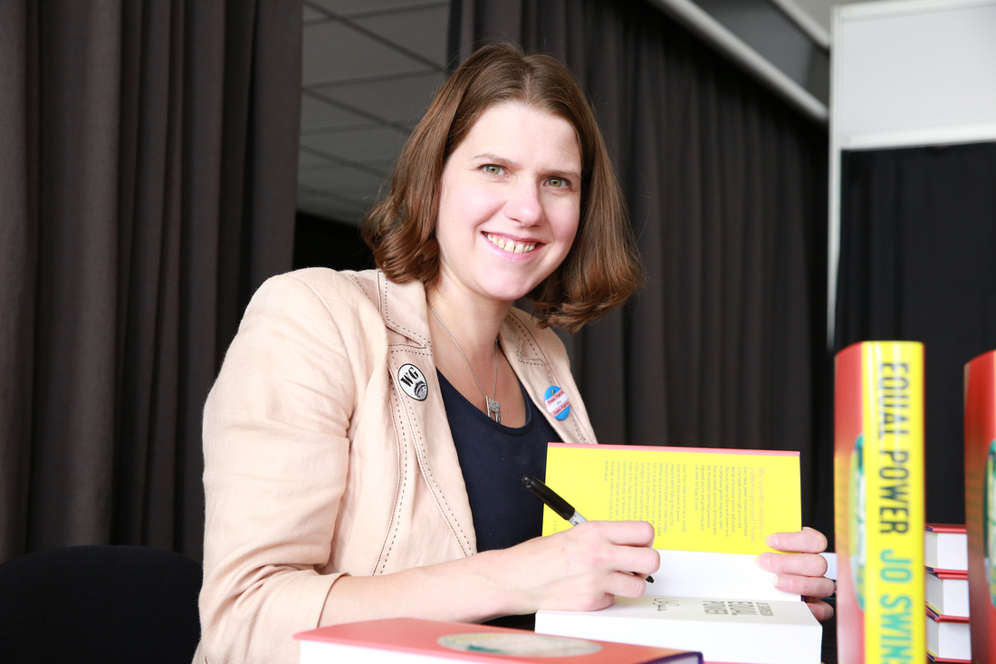 Jo Swinson signing copies of Equal Book