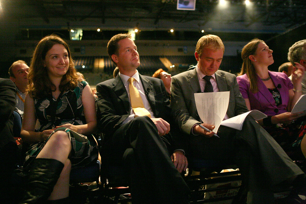 Nick Clegg, Tim Farron and Jo Swinson at Lib Dem conference