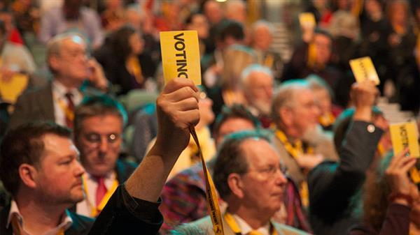 Voting at Lib Dem conference