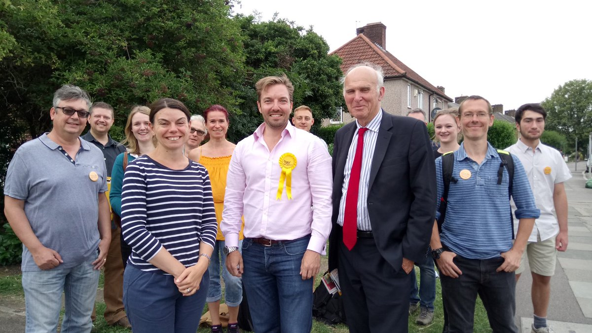 Geoff Cooper, Sarah Olney and Vince Cable campaigning
