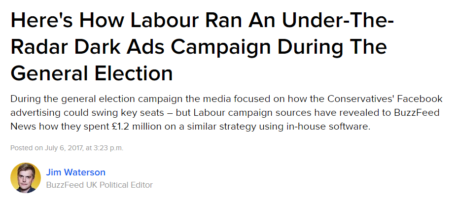 Labour's online advertising campaign in the general election