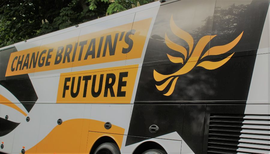 A Liberal Democrat battle bus