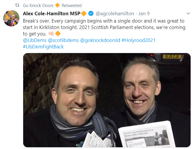 Go Knock Doors tweet from canvassing in Scotland