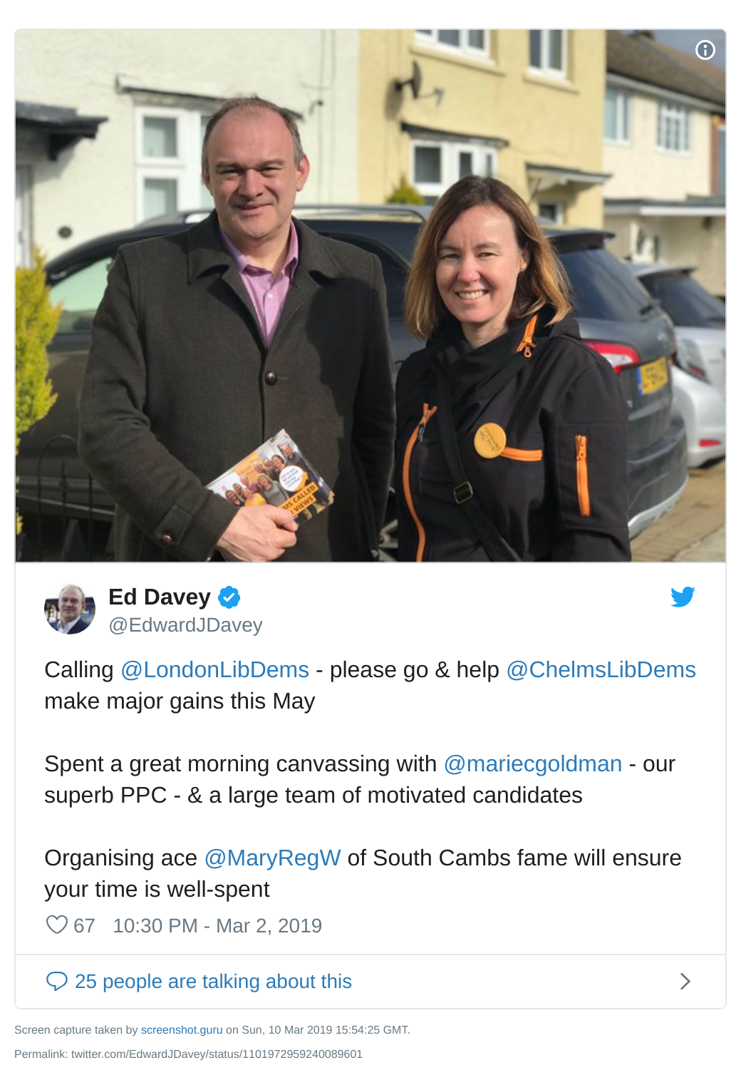Ed Davey tweet urging Lib Dems from London to help in Chelmsford in the May elections