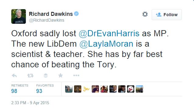 Richard Dawkins backs Layla Moran
