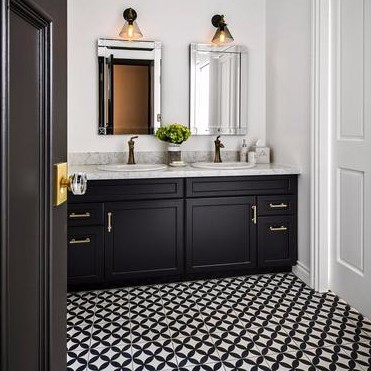 Circles Cement Tile Pattern in Black and White Create a Classy Look for this Bathroom Floor