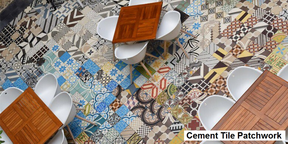 Cement Tile Patchwork Creates a Fun Colorful Look for this Dinning Room Floor
