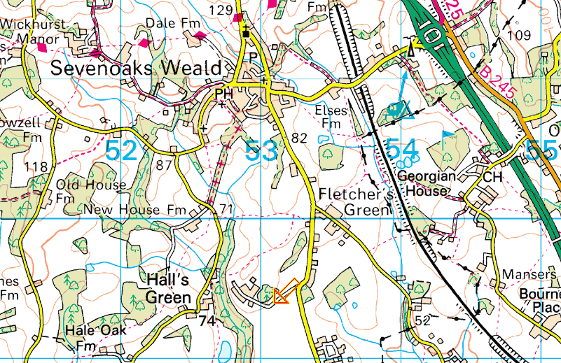 Map to Westwood Farm in Sevenoaks Weald