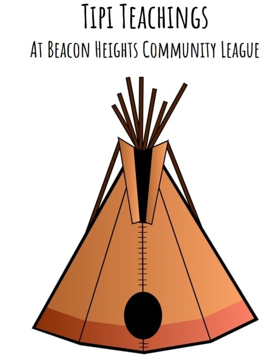 Tipi Teachings at Beacon Heights Community League with drawing of tipi