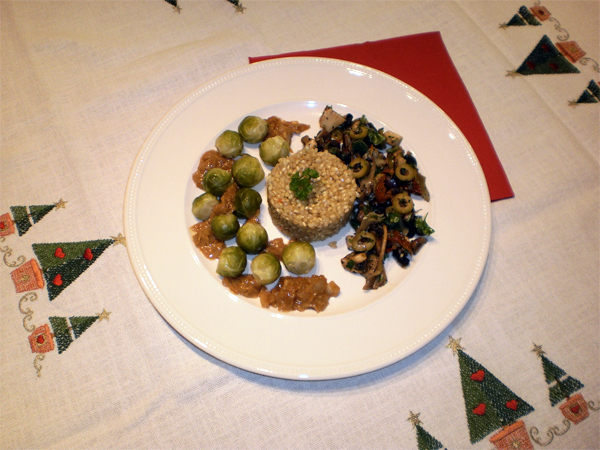 Paddenstoelensalade met spruitjes en kokossaus