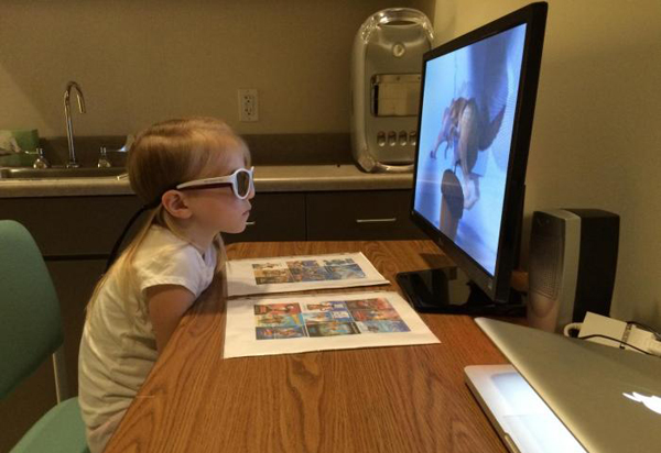3D films tegen lui oog