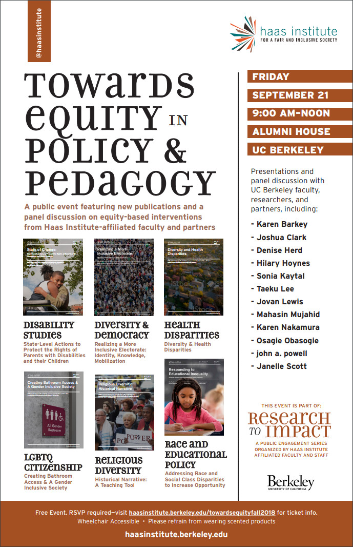 """Flyer for the """"Towards Equity in Policy and Pedagogy"""" event which features the event details and photos of the new policy brief covers"""
