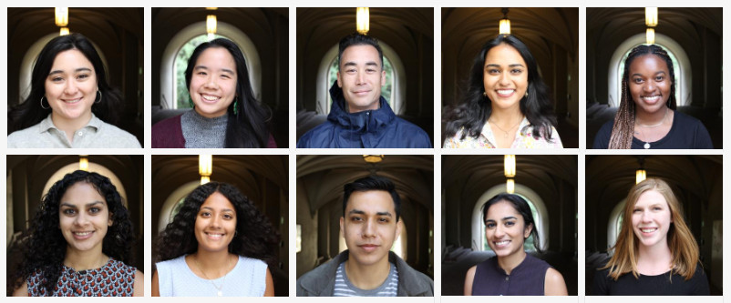 Image shows head shots of the 10 summer fellows