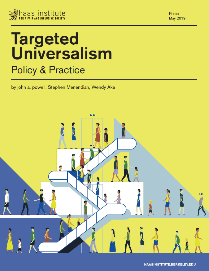 """Cover image of a report with title """"Targeted Universalism: Policy and Practice"""" showing a green background with animated illustration of people on an escalator"""