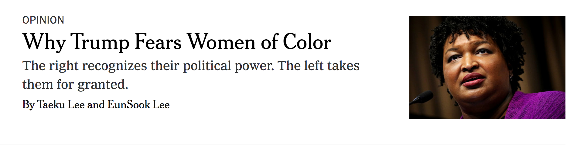 """image of title of online article entitled  """"Why Trump Fears Women of Color"""""""