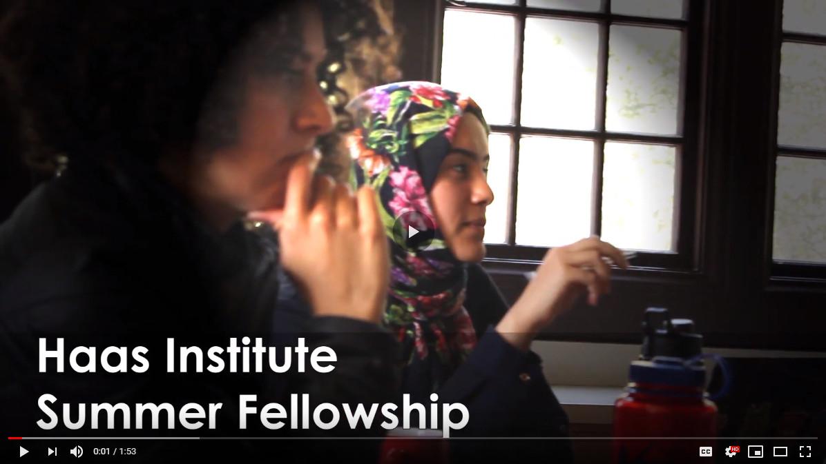 An image grab from a video promoting the Haas Institute Summer Fellowship shows two women seated.